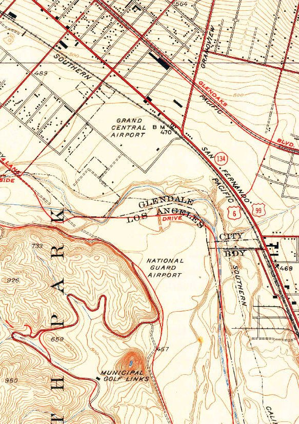 """The 1928 USGS topo map depicted Griffith Park """"National Guard Airport"""" as  an open area without any specific runways. e9021dcb2879"""