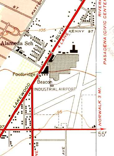 The 1949 Usgs Topo Map Depicted The Downey Industrial Airport As Having 2 Paved Runways With The Factory Other Buildings At The Northwest Corner