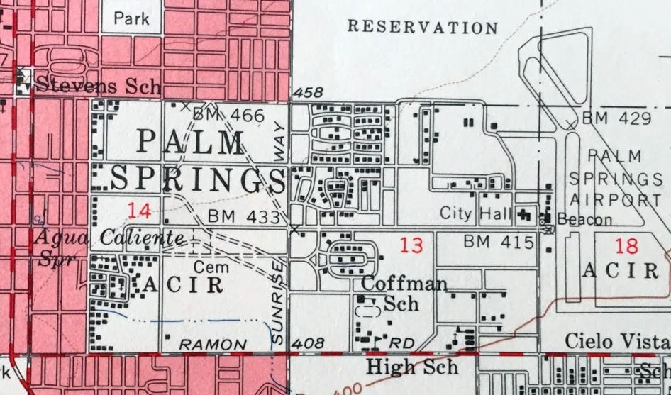 Traces Of The Original Palm Springs Airport Were Still Visible On The 1957 Usgs Topo Map Courtesy Of Kevin Walsh