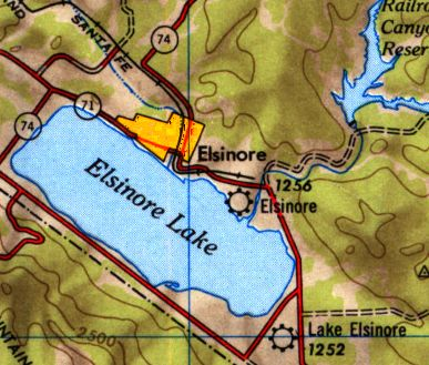 Elsinore Airport As Depicted On The 1947 Usgs Topo Map Along With The Similarly Named Lake Elsinore Airport Nearby To The Southeast