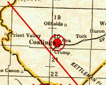 Coalinga California Map.Abandoned Little Known Airfields California Southwestern Fresno Area