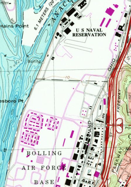 The 1983 Usgs Topo Map Depicted The Hangars Remaining Short Runway Segments At The Anacostia Heliport