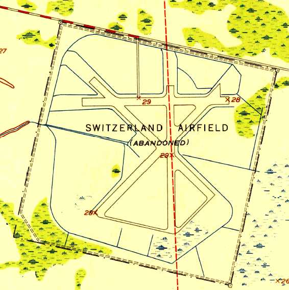 The 1952 Usgs Topo Map Depicted Switzerland Airfield Abandoned As Having 4 Paved Runways