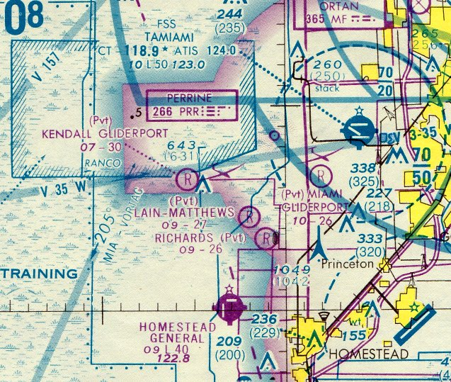 the earliest aeronautical chart depiction which has located of kendall  gliderport was on the march 1978 miami sectional chart