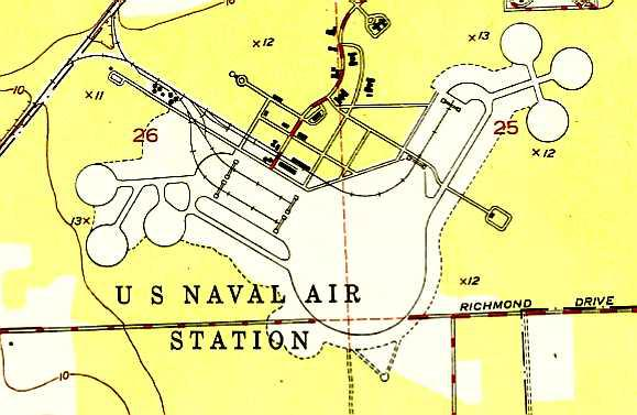 The 1949 Usgs Topo Map Depicted The Us Naval Air Station