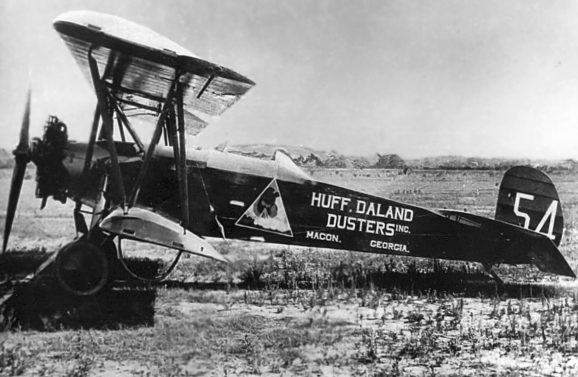 A Circa 1930s Photo Courtesy Of Jim Preston Biplane Model Unidentified Marked Huff Daland Dusters Inc Macon GA At Miller Field