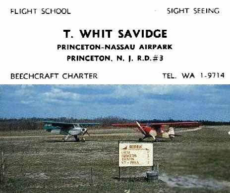 Abandoned little known airfields new jersey trenton area a circa 1957 59 business card for the manager of the princeton nassau airpark whit savidge courtesy of bill ward via tom kramer reheart