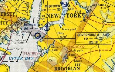 a 1951 aerial showed governors island to have a single unpaved grass runway bracketed by several baseball diamonds
