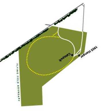 A Park Service diagram showing the layout of Huffman Prairie Flying Field,