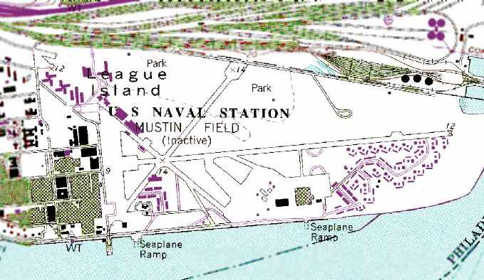 The 1998 Usgs Topo Map Depicted The U S Naval Station Mustin Field Inactive