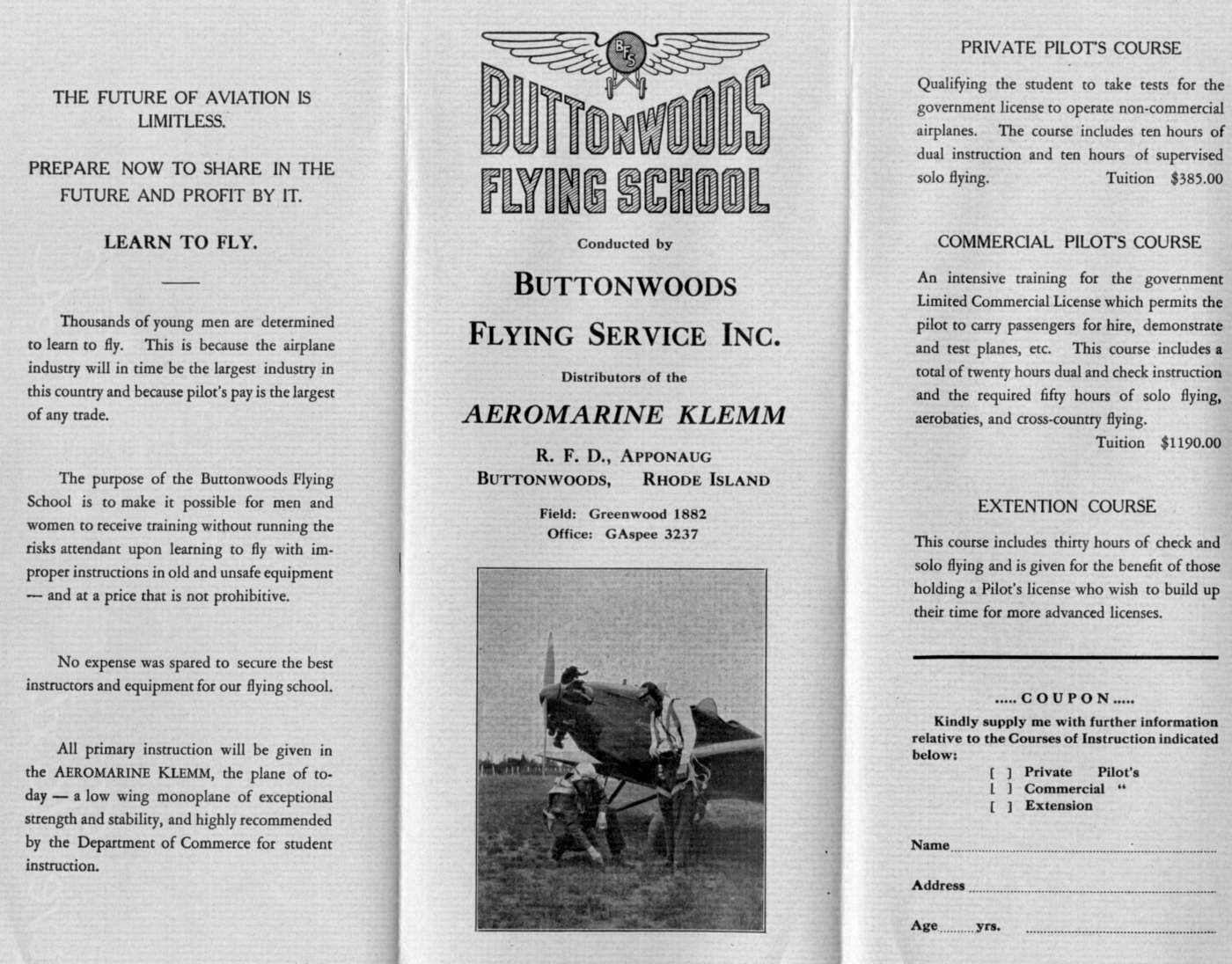 Abandoned little known airfields rhode island a circa 1930s brochure for the buttonwoods flying school courtesy of tom heitzman nvjuhfo Images