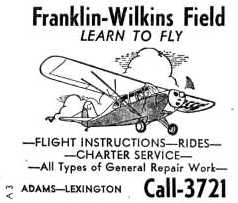 c88cd6e92ea ... Chattanooga Sectional Chart (courtesy of Chris Kennedy). An undated  (1950s ) advertisement for flight instruction at Franklin-Wilkins Field.