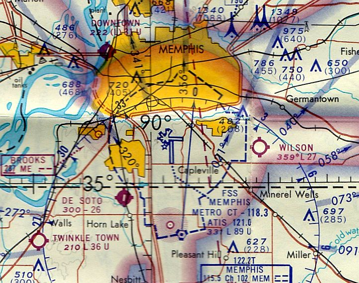 be6a25f9bbc The last aeronautical chart depiction which has been located of Memphis  Downtown Airport was on the December 1968 Memphis Sectional Chart (courtesy  of Ron ...