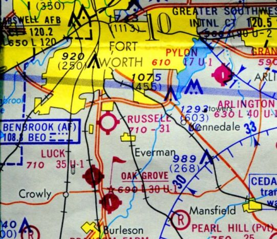 Abandoned little known airfields texas southwestern fort worth area the last aeronautical chart depiction which has been located of russell field was on the 1969 dallas sectional chart malvernweather Gallery
