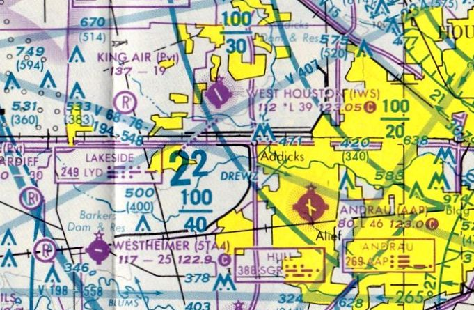 The Last Aeronautical Chart Depiction Which Has Been Located Of Andrau Airpark Was On July 1993 Houston Sectional Courtesy Ron Plante