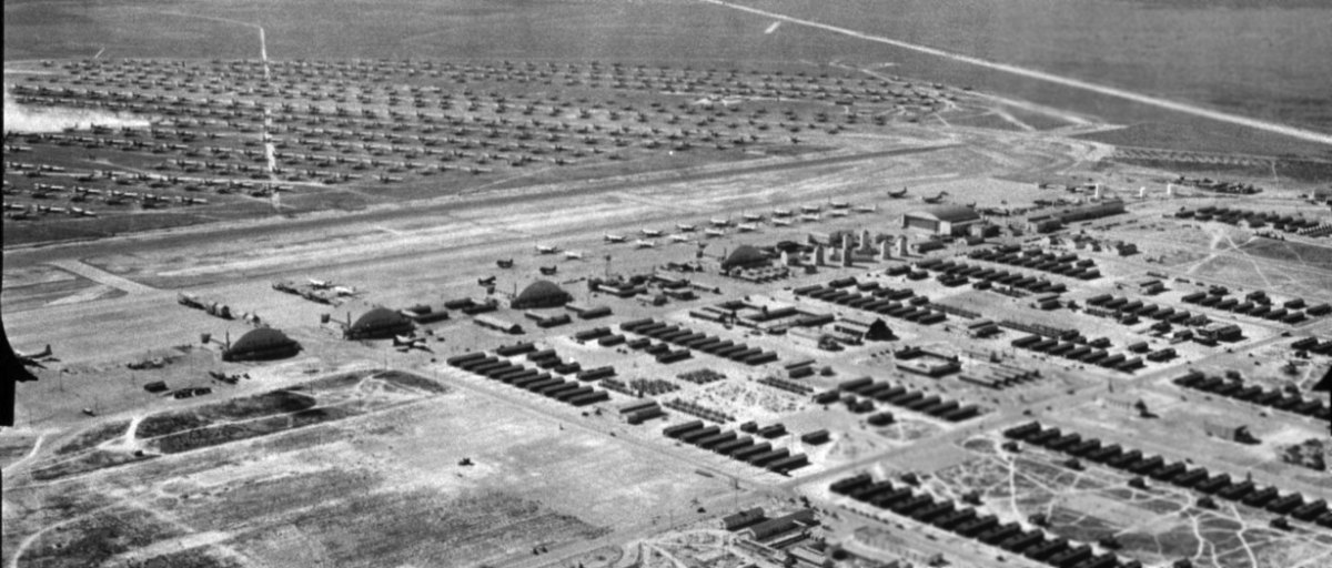 An amazing 11 26 45 aerial viewlooking west at hundreds of military
