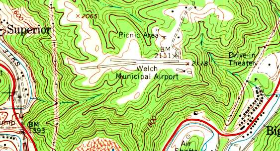 Topographic Map West Virginia.Abandoned Little Known Airfields Southwestern West Virginia